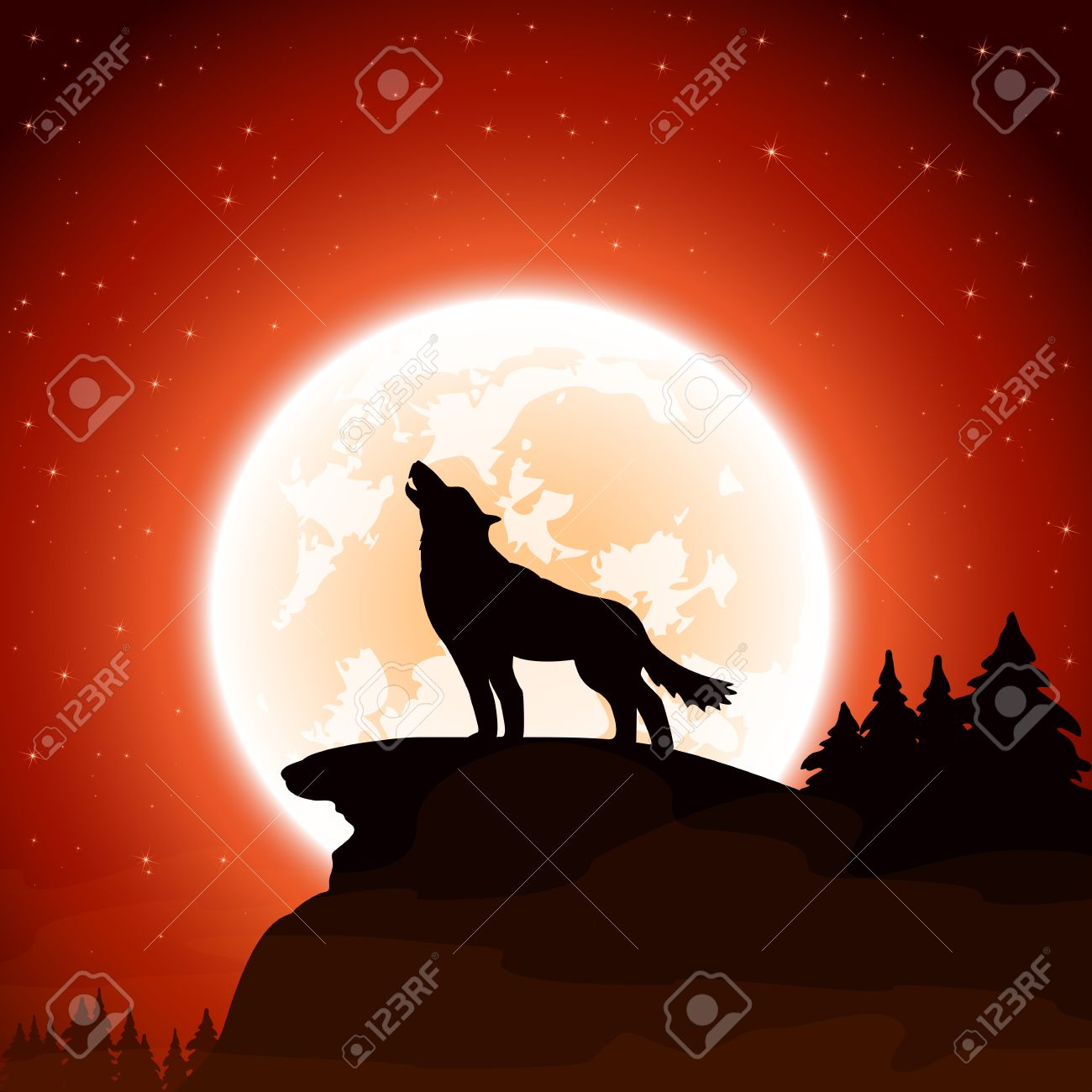 Orange Halloween night background with wolf and Moon - 44008011
