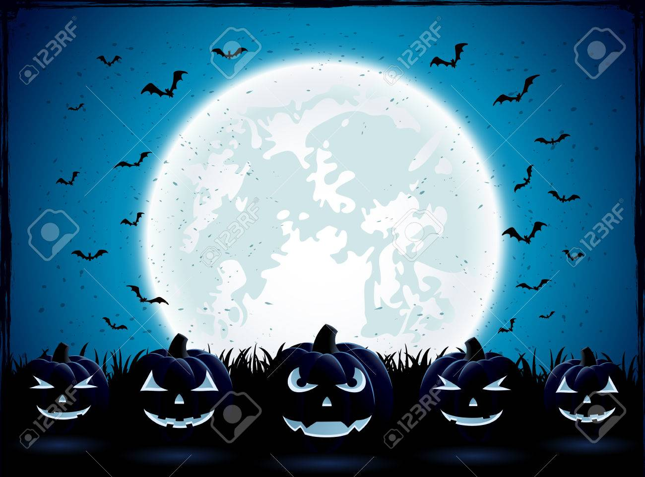 Halloween night with Moon and pumpkins in the grass, illustration. - 44926299