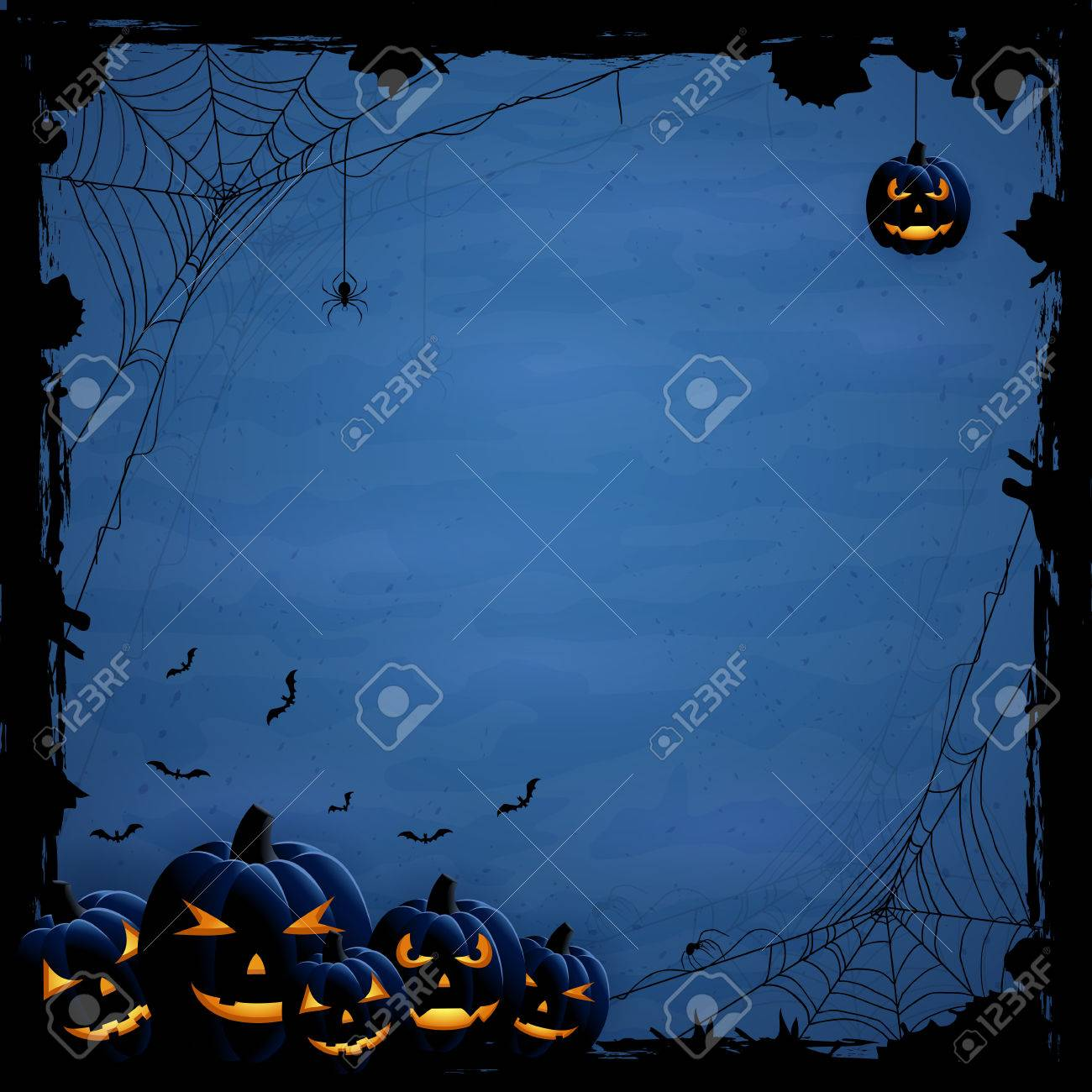 Blue Halloween background with pumpkins and spiders, illustration. - 44964512