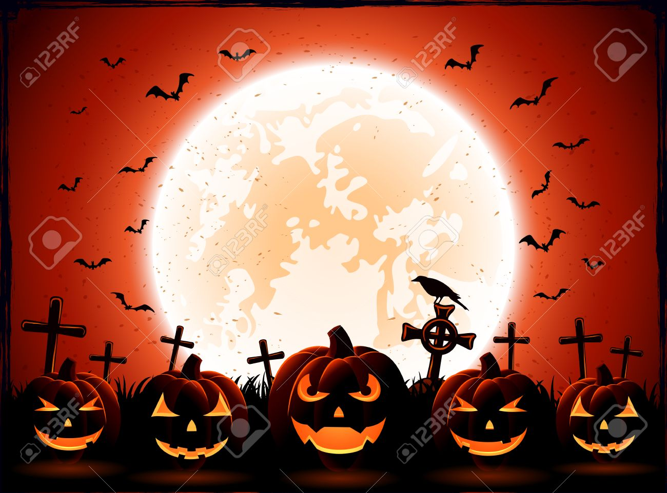 Halloween night with Moon and pumpkins on the cemetery background, illustration. - 44964514