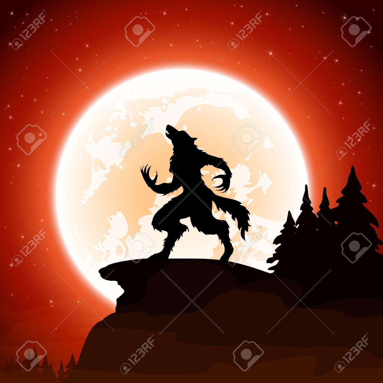 Halloween night and werewolf on Moon background, illustration. - 45061324