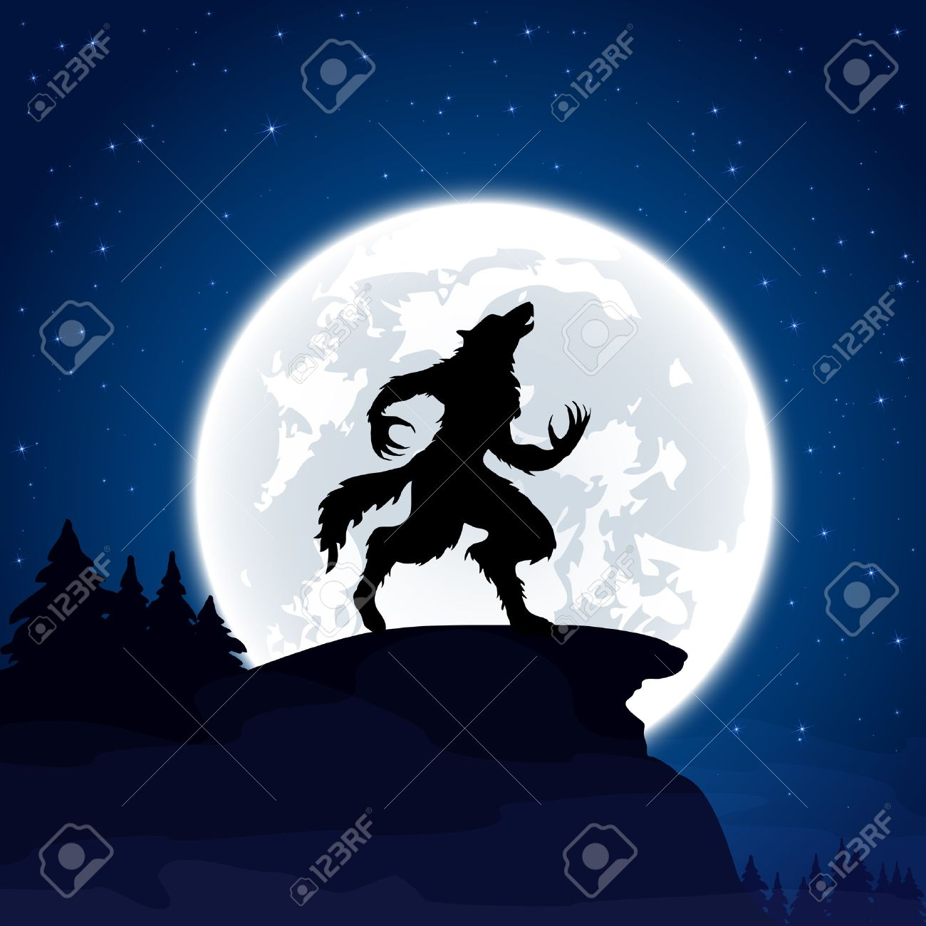 Halloween night background with werewolf and Moon, illustration. - 45299073