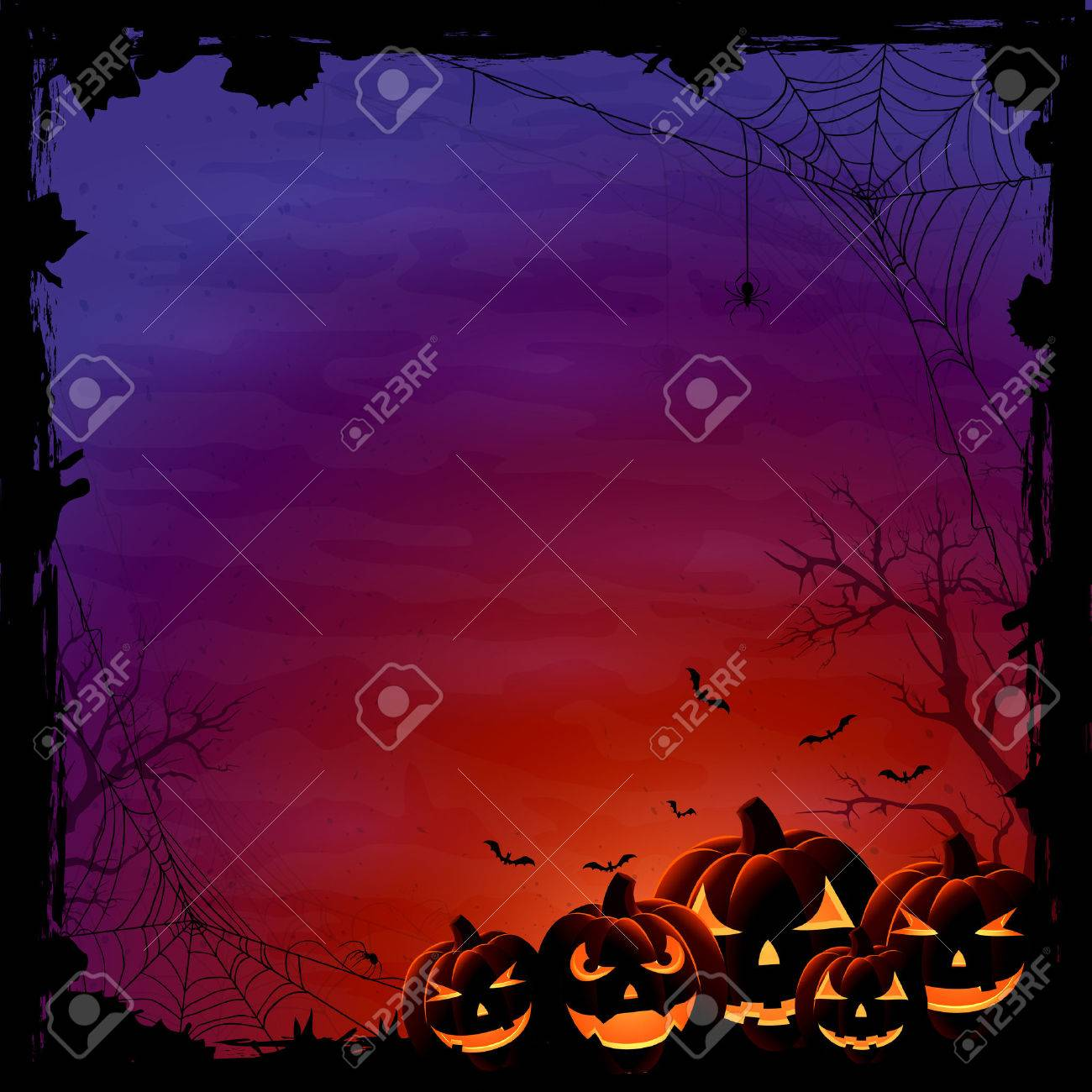 Halloween background with pumpkins and spiders, illustration. - 45296421