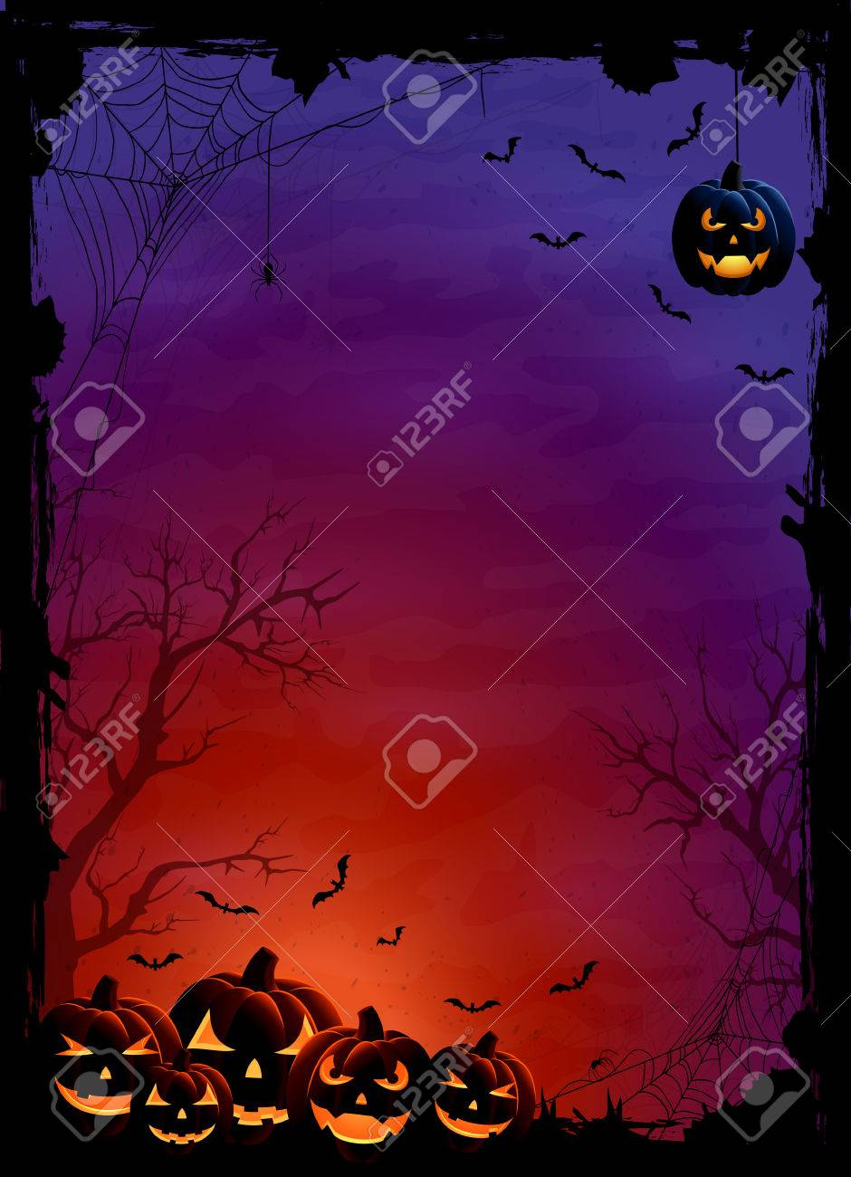 Halloween theme with pumpkins, bats and spiders on night background, illustration. - 45303330