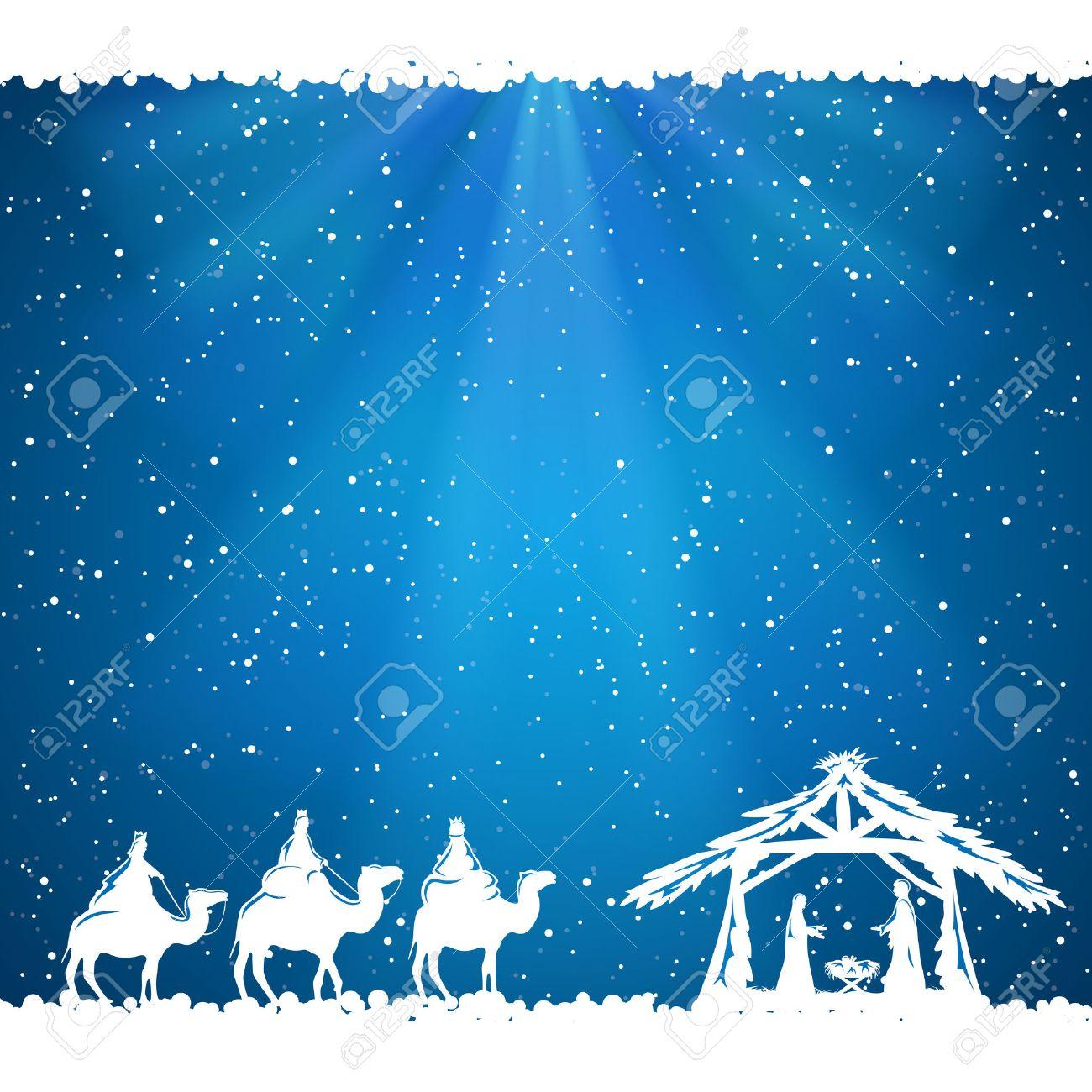 Christian Christmas scene on blue background, illustration. - 46044497