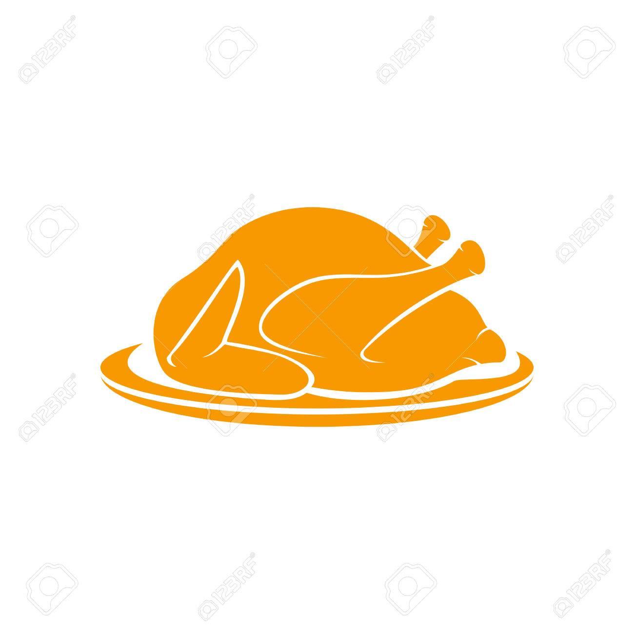 Roast turkey on plate isolated on white background, illustration. - 46099088
