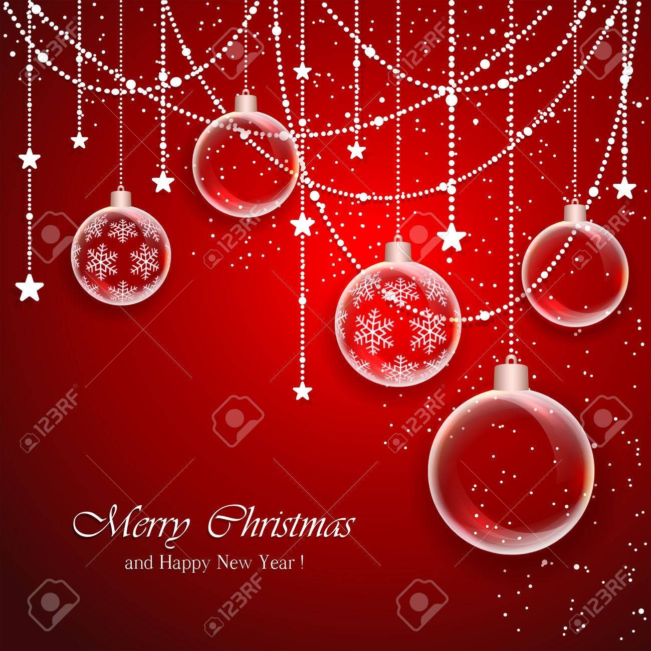 Red Christmas background with transparent balls and decorations with stars, illustration. - 46107099