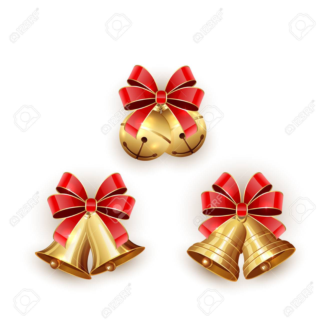Set of golden Christmas bells with red bow on white background, illustration. - 46725867