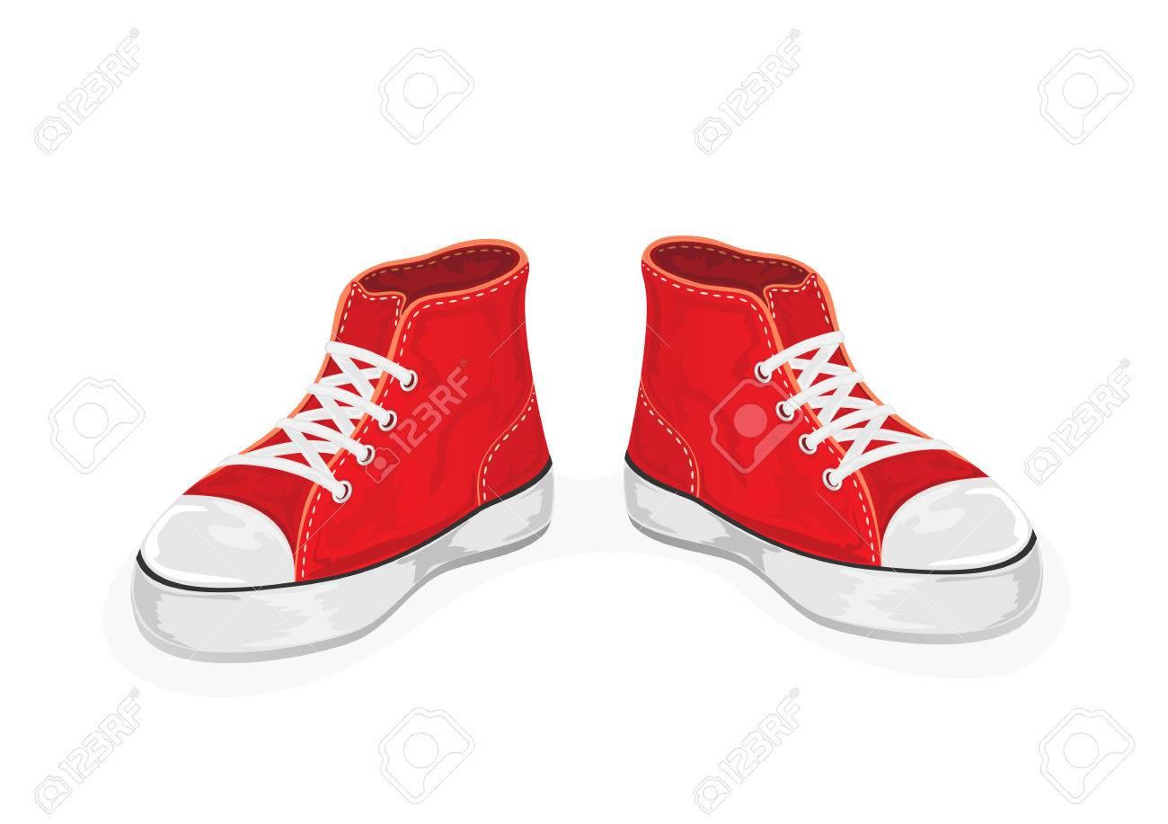 赤のスニーカーは、白い背景、イラストに分離されました。のイラスト素材・ベクタ - Image 46725886.