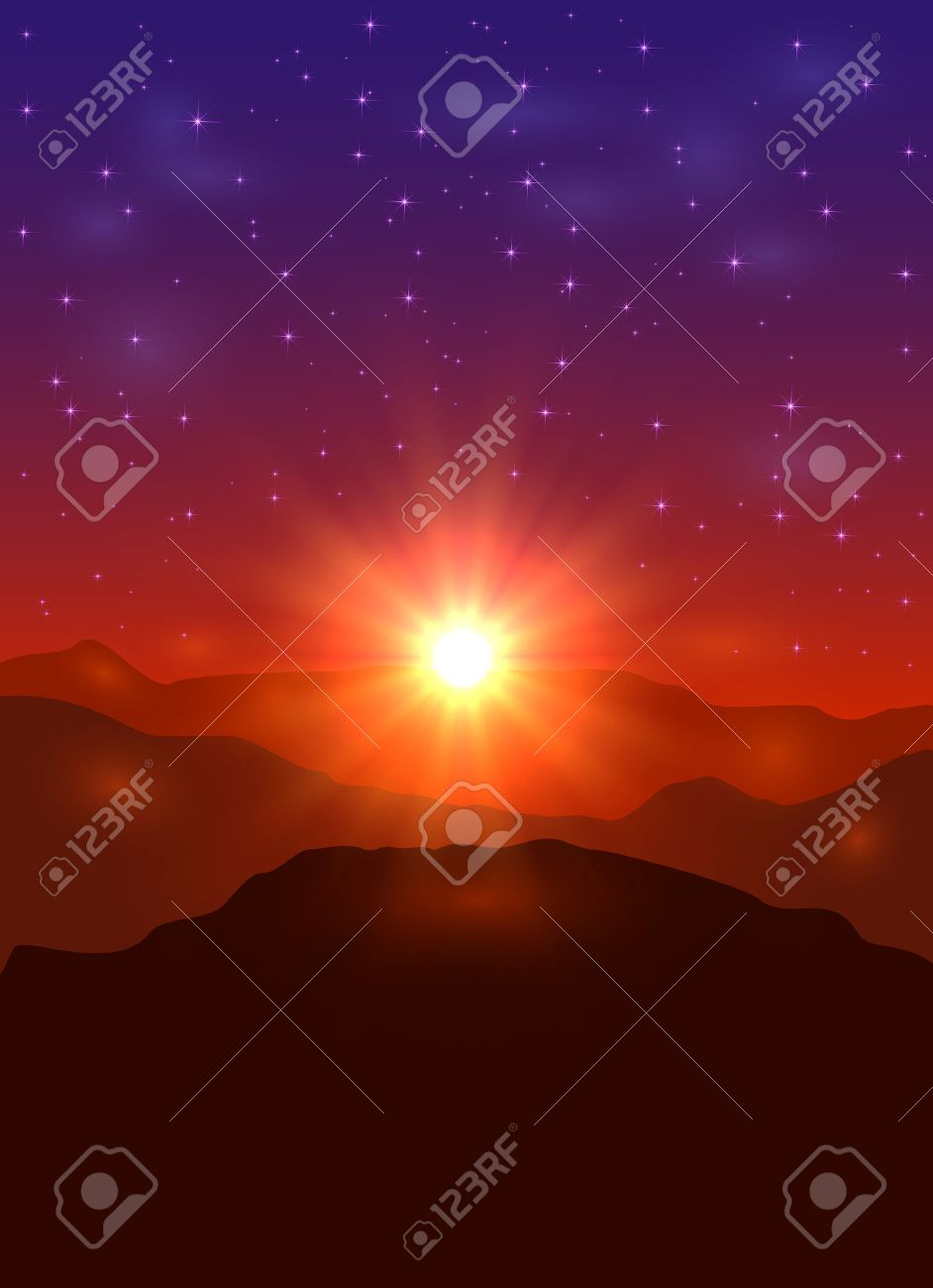 Beautiful landscape with sun and stars, sunrise in the mountains, illustration. - 46725910