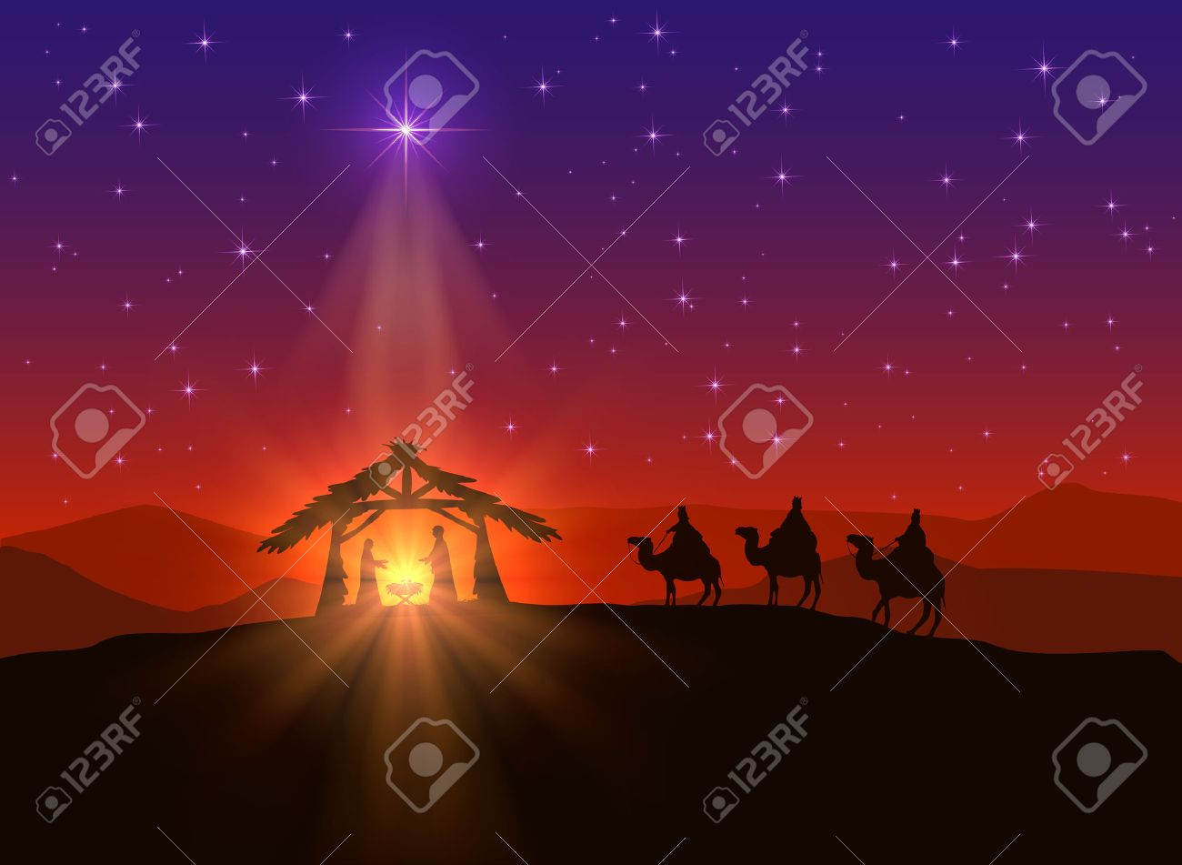 Christian background with Christmas star and birth of Jesus, illustration. - 47048596
