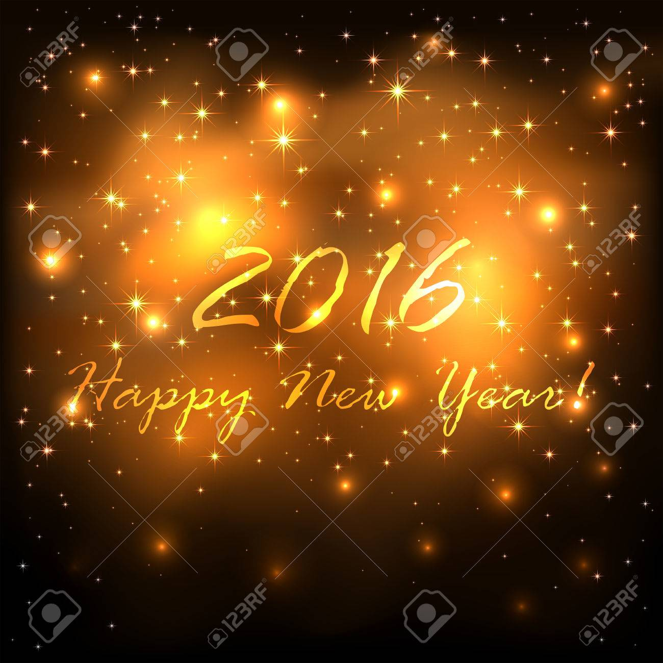 new years theme shiny golden background with stars and blurry lights illustration stock
