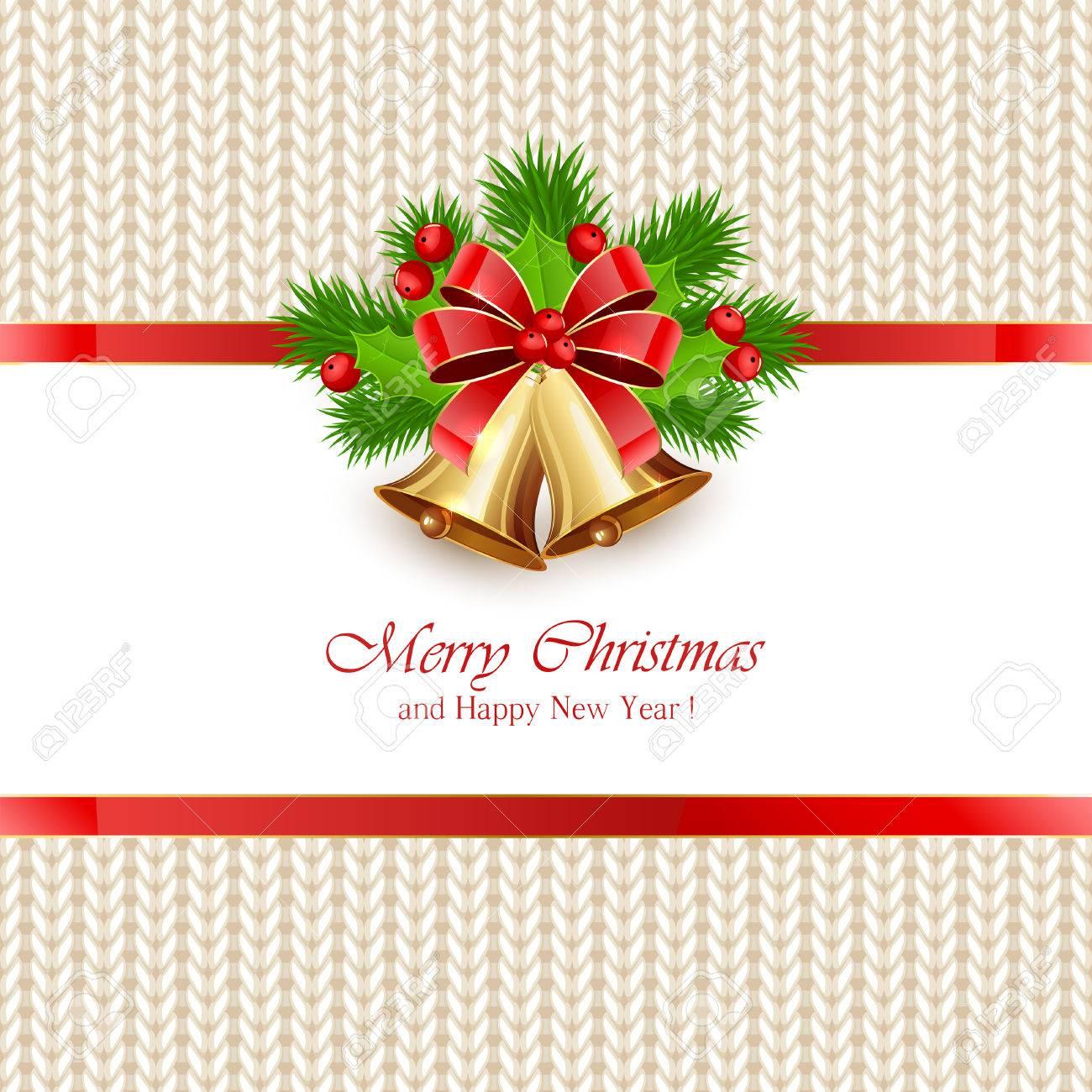 Campanas De Navidad Con Arco Y Bayas De Acebo En El Patrón De Punto ...