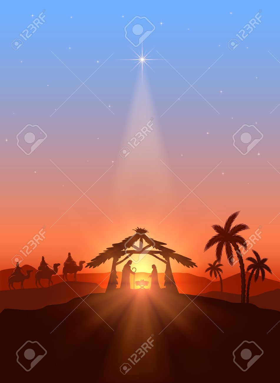 Christmas Jesus Birth Images.Christian Christmas Background With Shining Star Birth Of Jesus