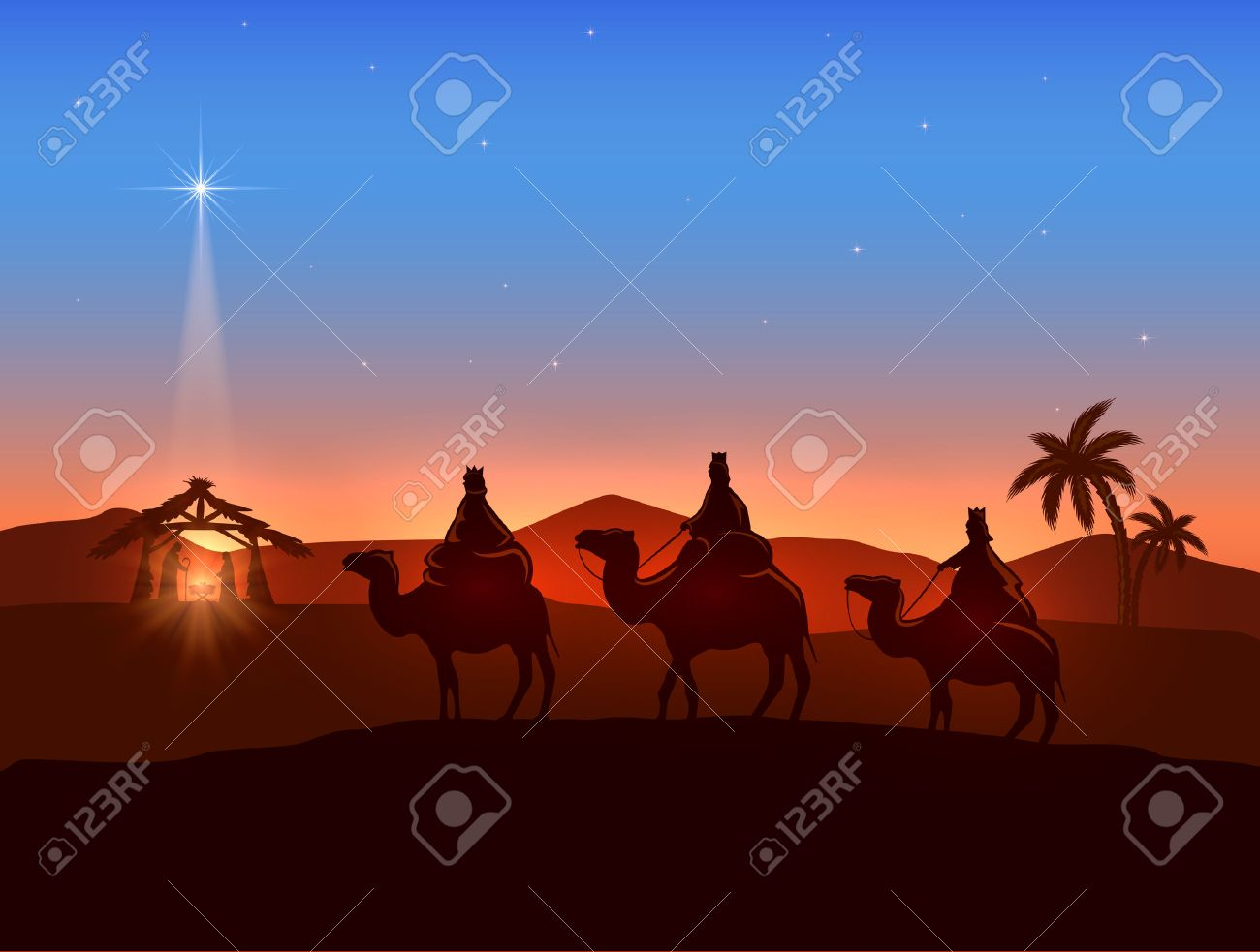 Christian Christmas background with three wise men and shining star, birth of Jesus, illustration. - 47879109