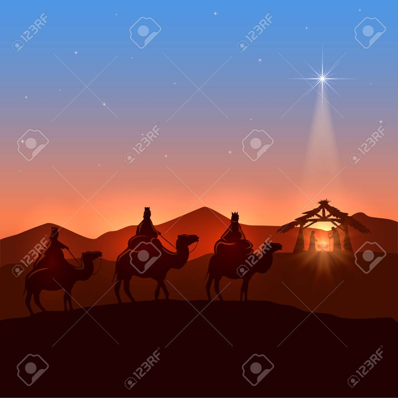 Christmas background with three wise men and shining star, Christian theme, illustration. - 47879116