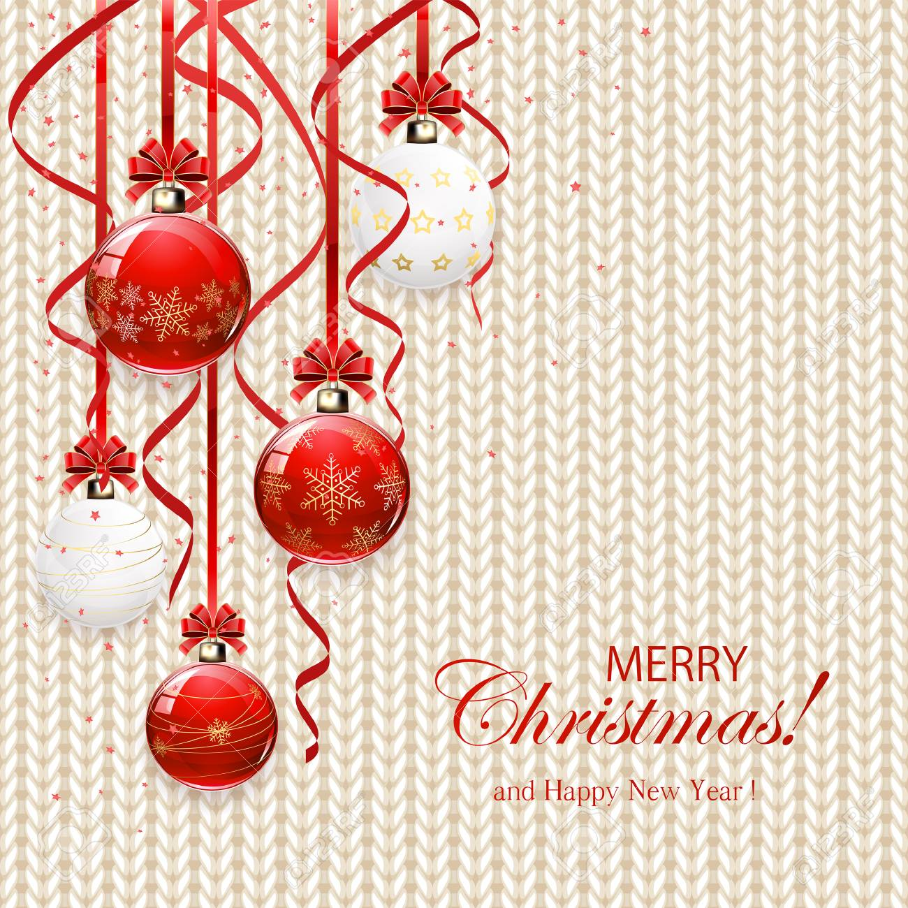 Bolas De Navidad Con Lazo Rojo Y Oropel En El Patrón De Punto Blanco ...