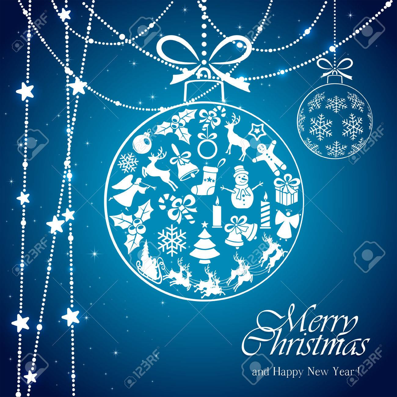 Blue background with transparent ball from Christmas elements and white stars, illustration. - 48256895