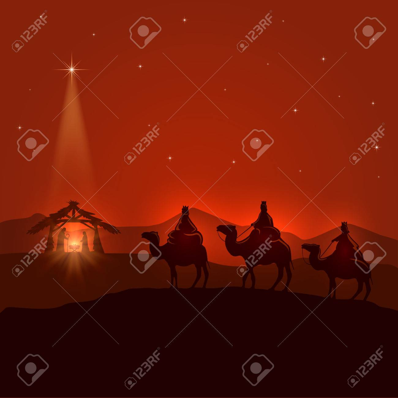 Night background with Christian Christmas scene, three wise men, birth of Jesus and shining star, illustration. - 48256906