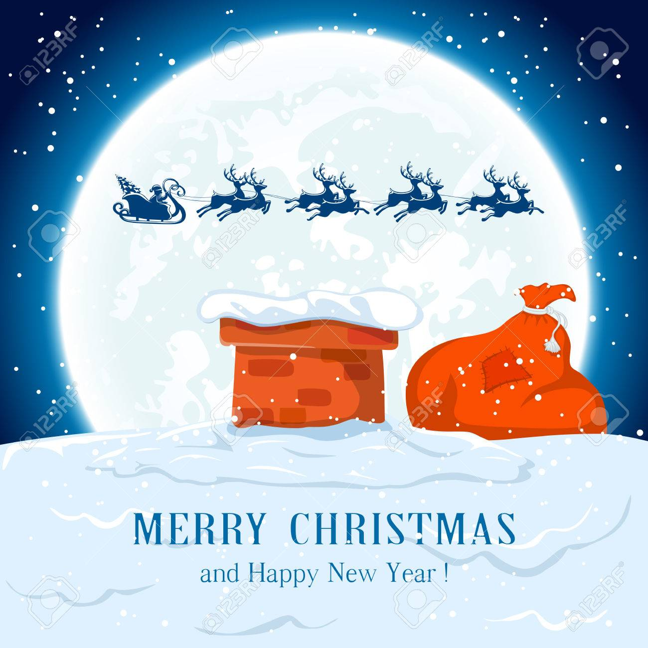 Santa in a sleigh flies over the roof, illustration. - 48793113