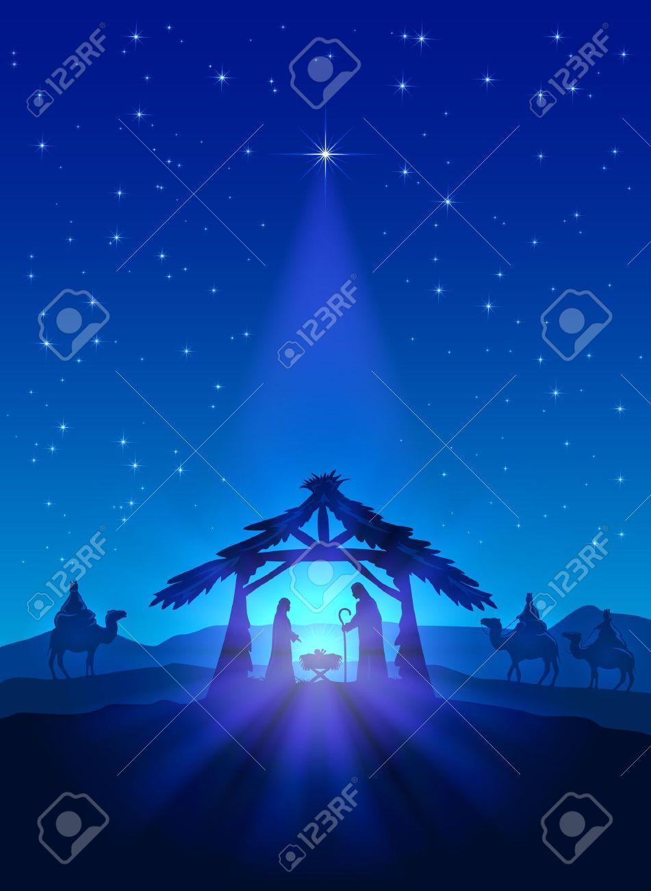 Christian theme, Christmas star on blue sky and birth of Jesus, illustration. - 48793099