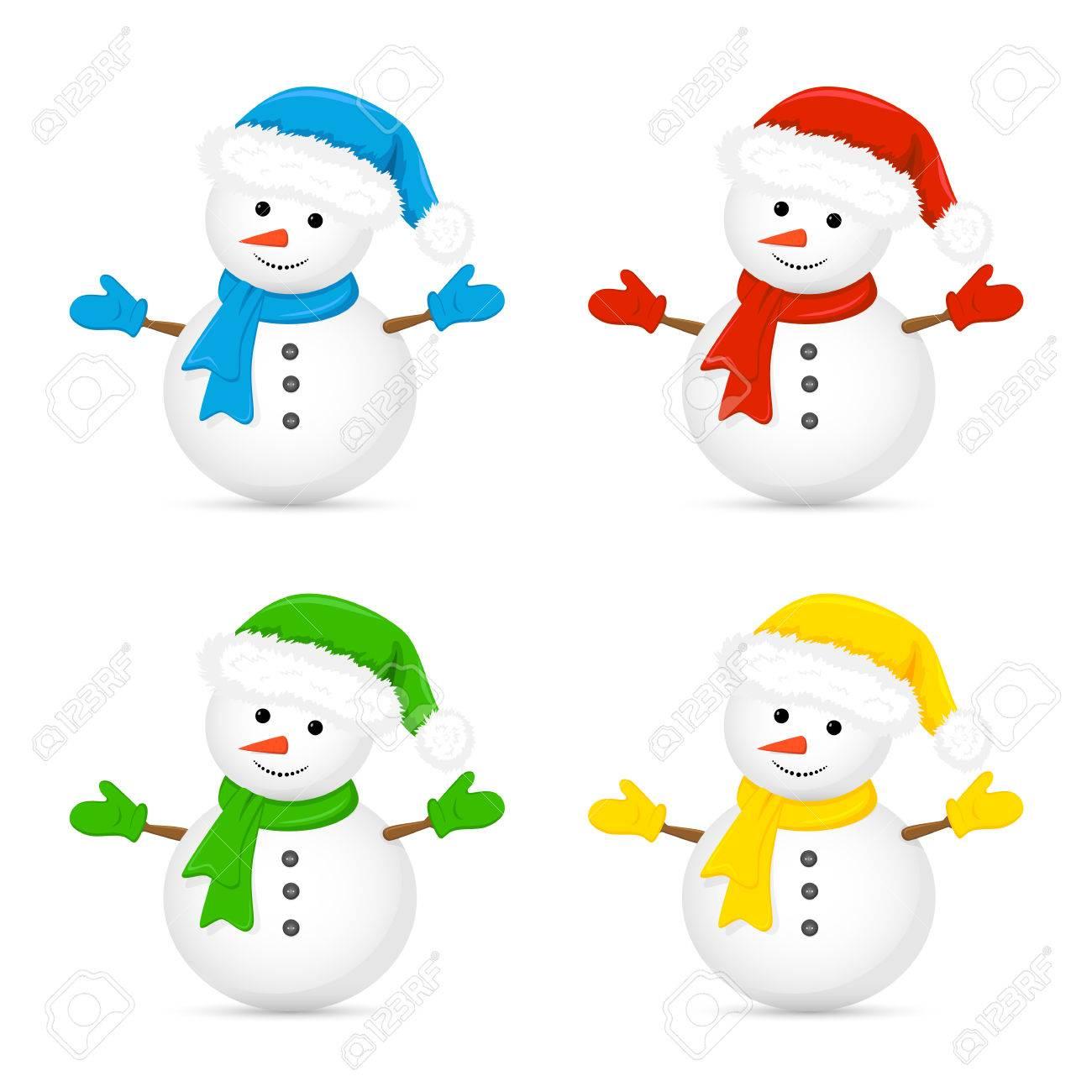Weihnachten Schneemann Im Sankt-Hut Und Rotem Schal Auf Weißem ...