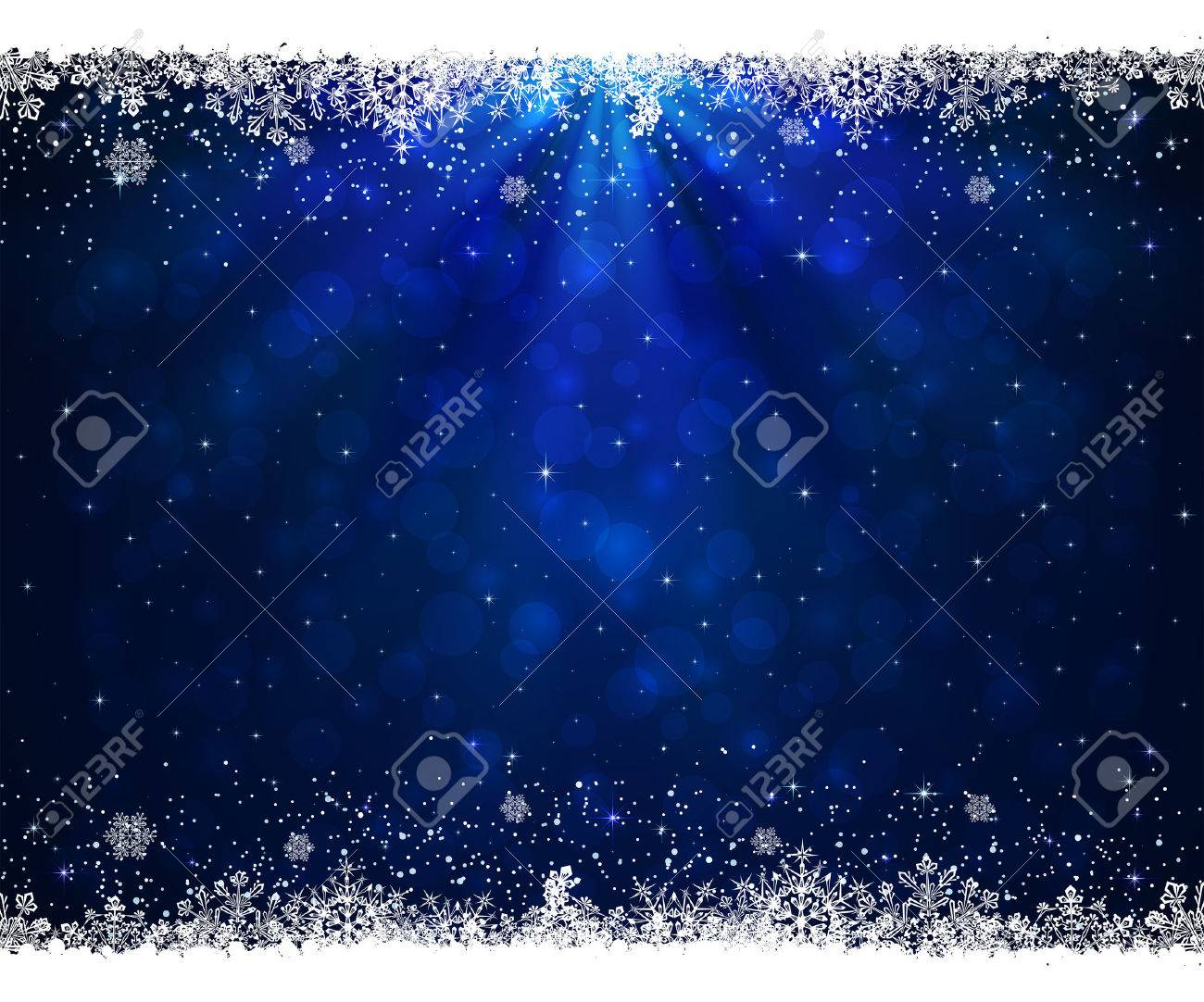 Abstract blue background with frame from snowflakes, illustration. - 49462289
