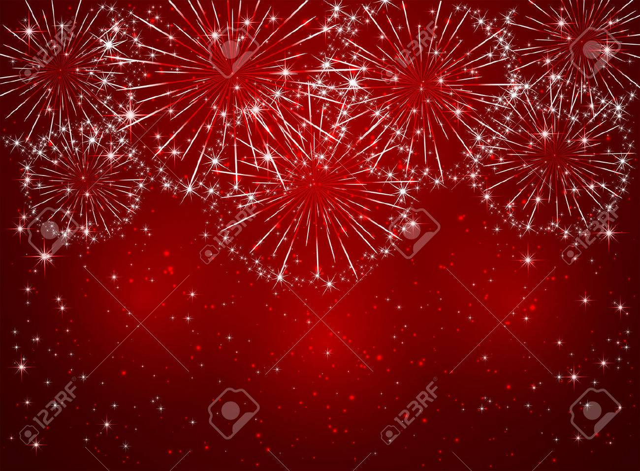 Bright sparkling fireworks on red shiny background, illustration. - 50331169