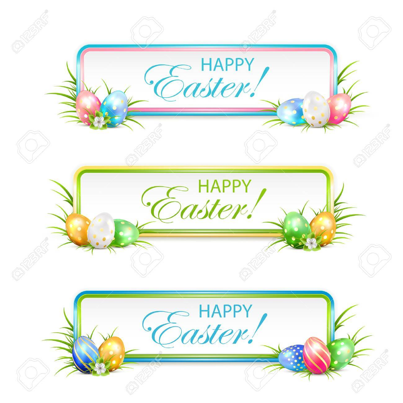 Easter banners with multicolored eggs in a grass, illustration. - 52084181