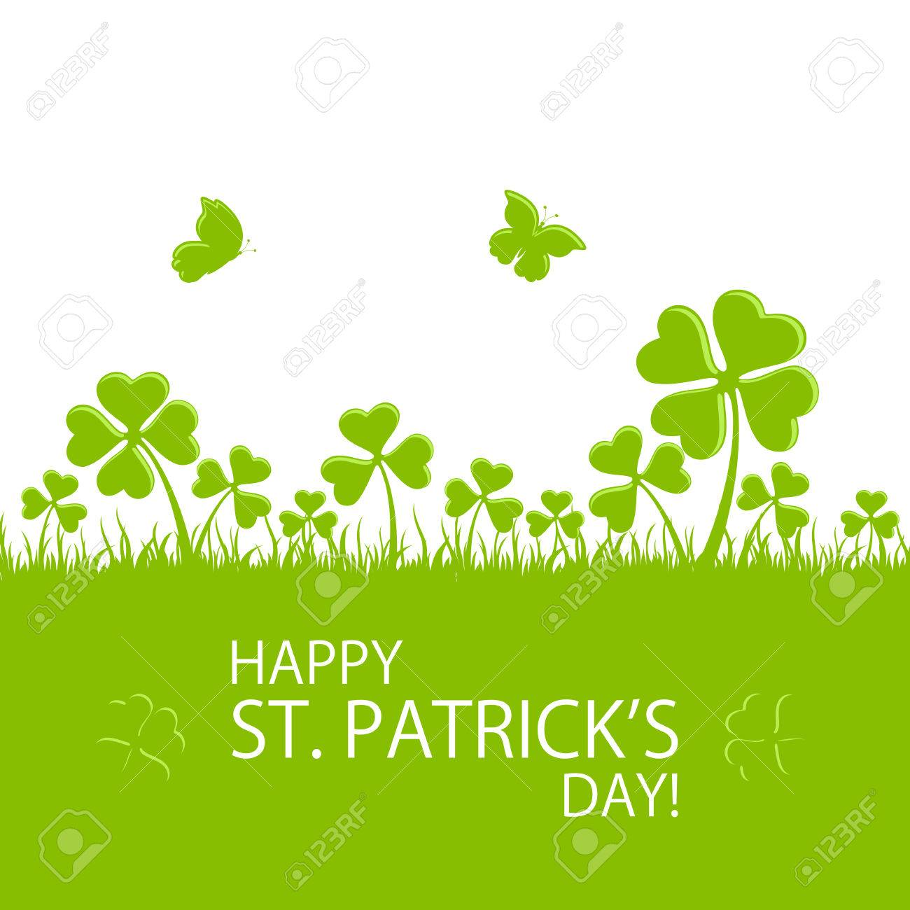 St. Patrick's Day green background with clovers in grass and flying butterfly, illustration. - 53289169