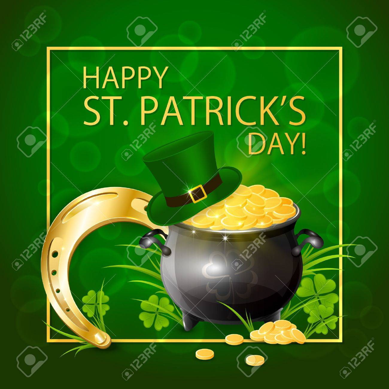 Horseshoe with pot of gold and hat of leprechaun in clover on green background, illustration. - 53289319