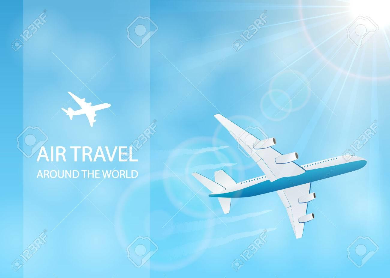 飛行の飛行機とイラスト世界中の空の旅の青い空に飛行機雲のイラスト