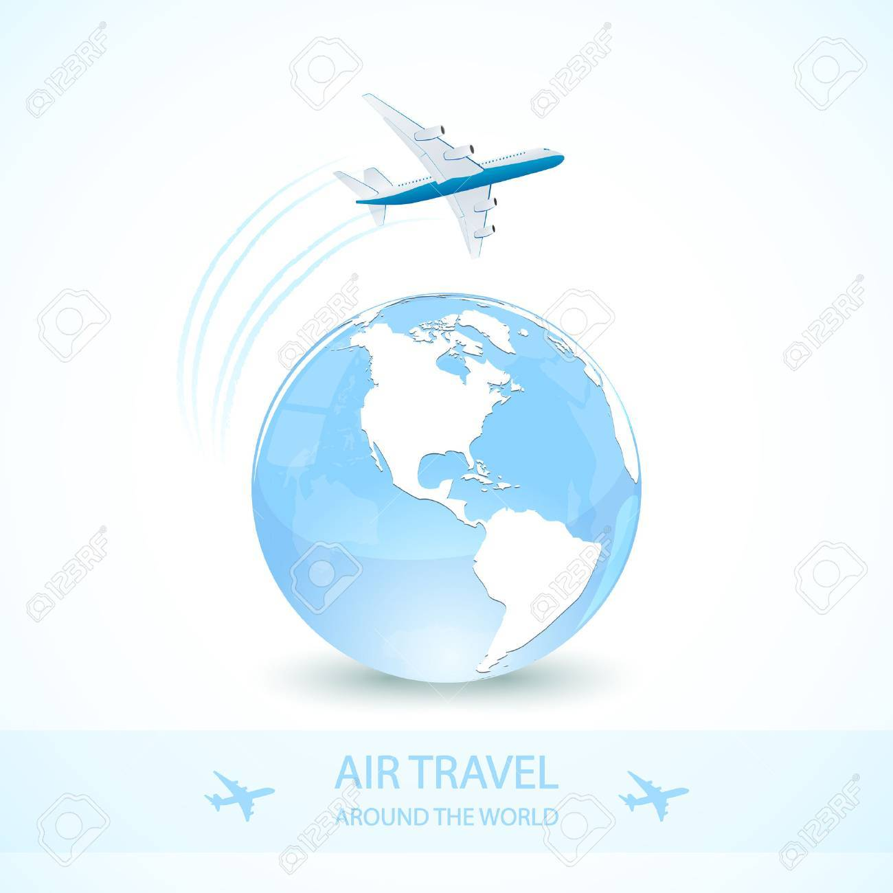 Air travel with white plane and earth globe, around the world, illustration. - 54942505