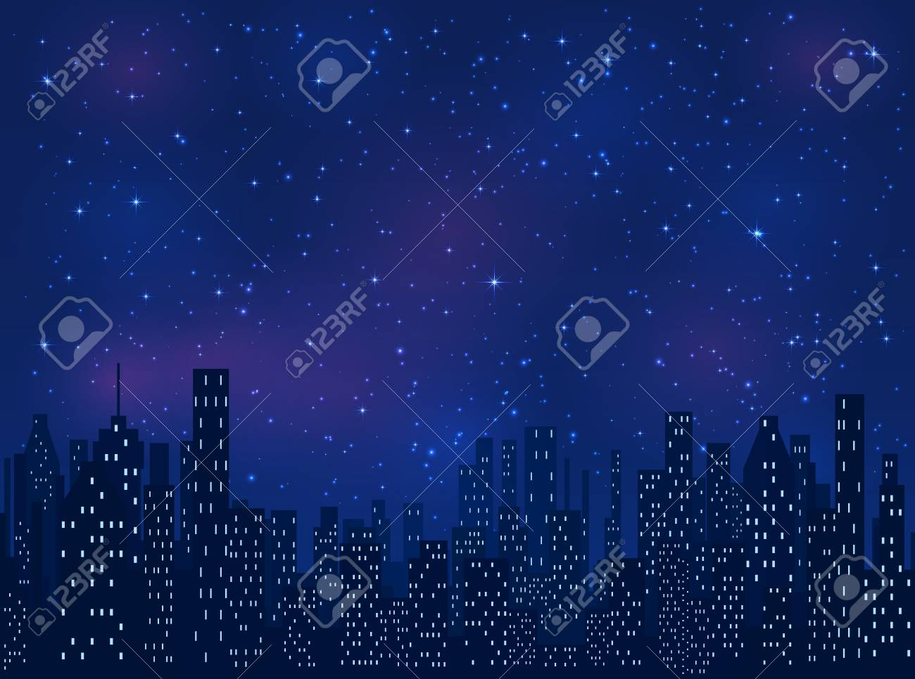 Night in the city, shining stars on blue sky background, illustration. - 56642052