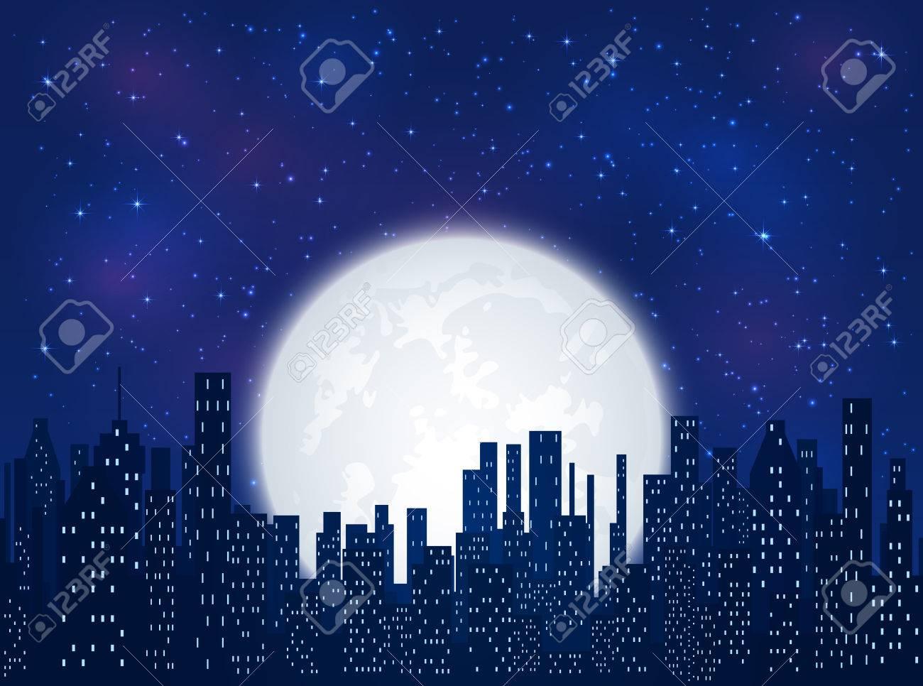 Vettoriale Notte Nella Città Brillanti Stelle E La Luna Su Sfondo