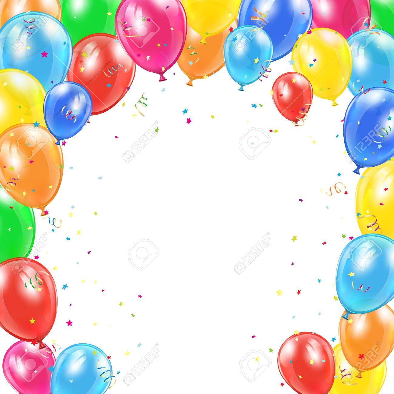 Fondo Del Feliz Cumpleaños Con El Marco De Volar Globos De Colores ...