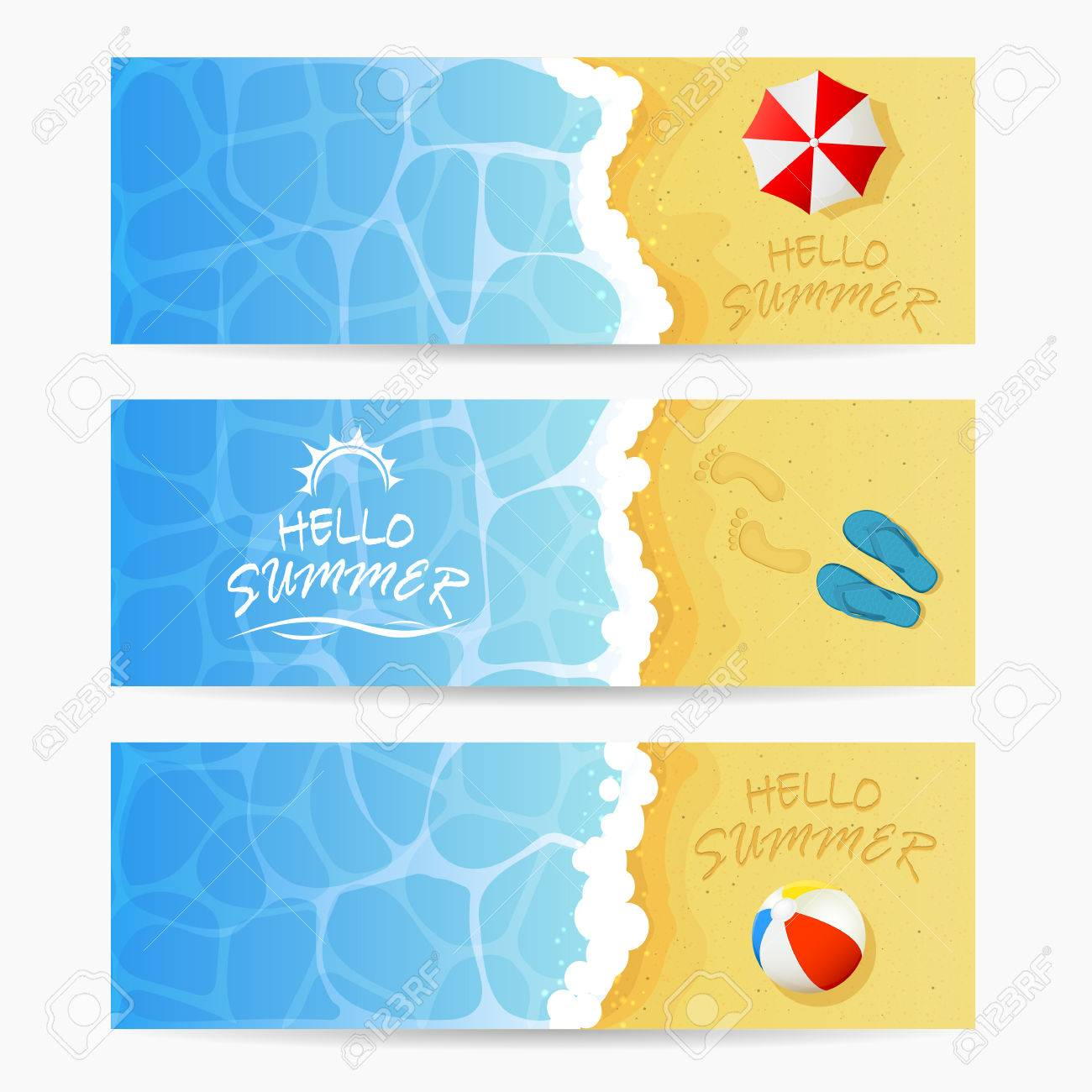 Beach theme, set of cards, inscription Hello Summer and ocean wave on a sandy beach with colored beach ball, flip flops with footprints and beach umbrella, Summer vacation on the beach, illustration. - 58022156
