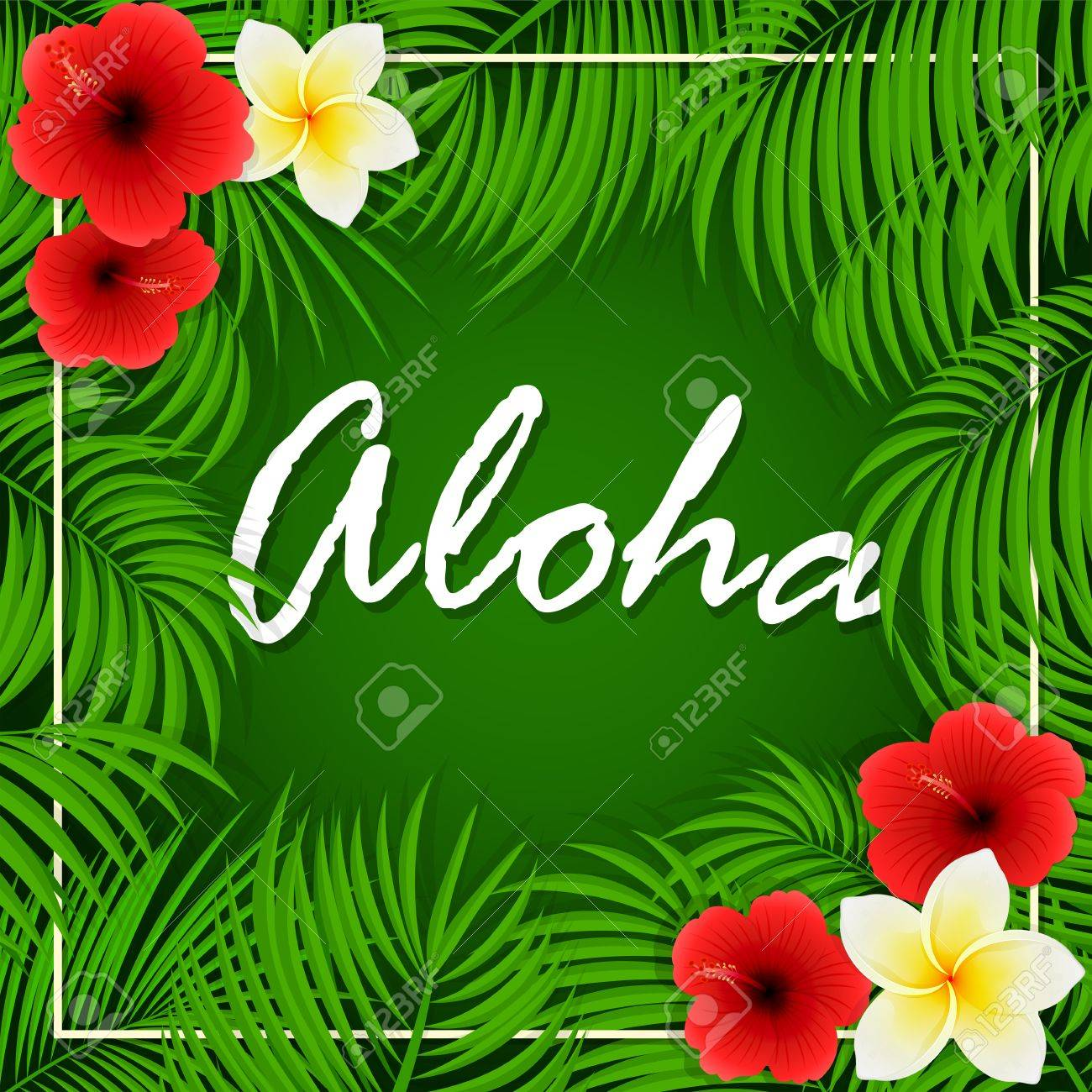Summer background with inscription of aloha palm leaves and summer background with inscription of aloha palm leaves and hawaiian flowers frangipani and hibiscus izmirmasajfo Image collections