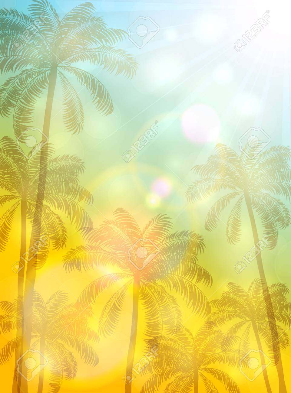 summer theme with palm trees and bright sun on yellow and blue