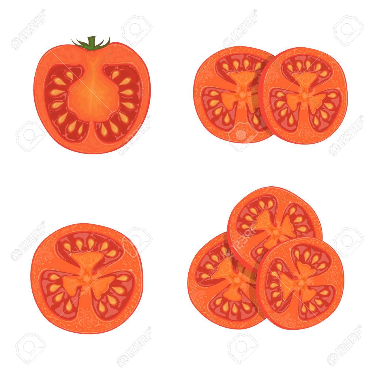 赤熟したトマトトマトのスライス白背景イラストに分離された