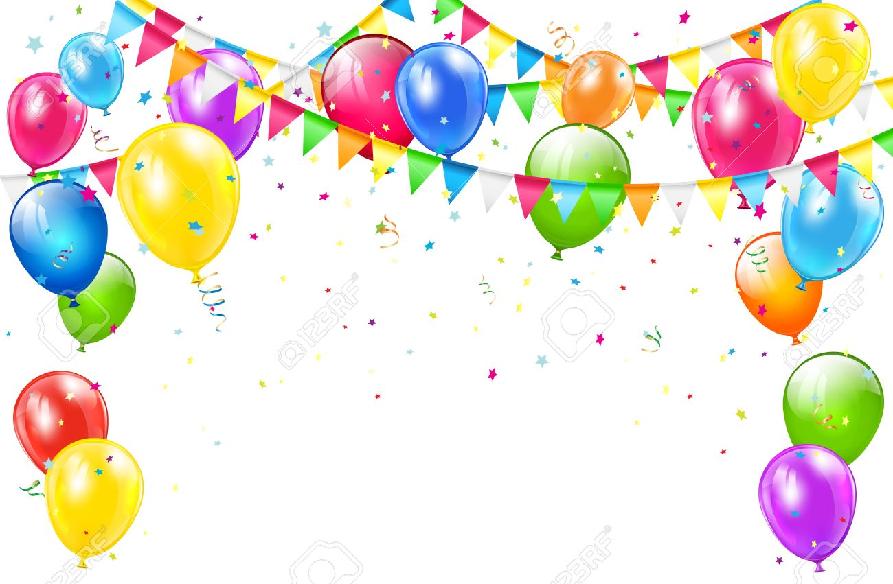 Happy Birthday Background With Set Of Colorful Balloons