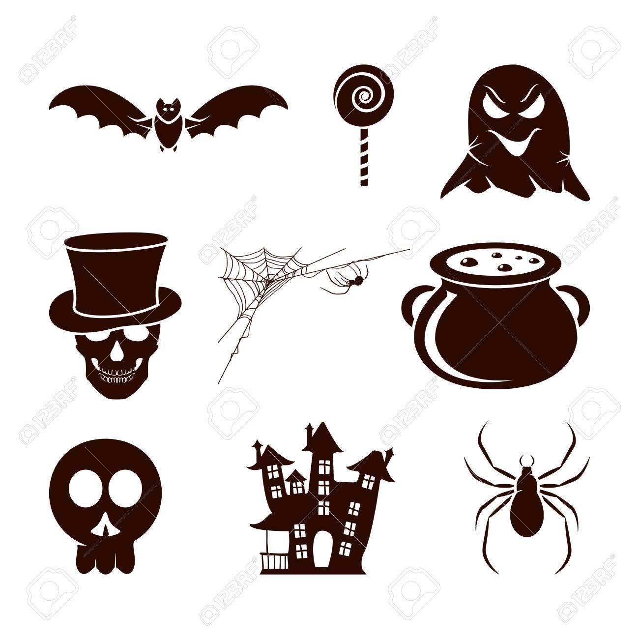 Halloween Thema.Halloween Thema Set Van Enge Pictogrammen Geisoleerd Op Een Witte Achtergrond Illustratie