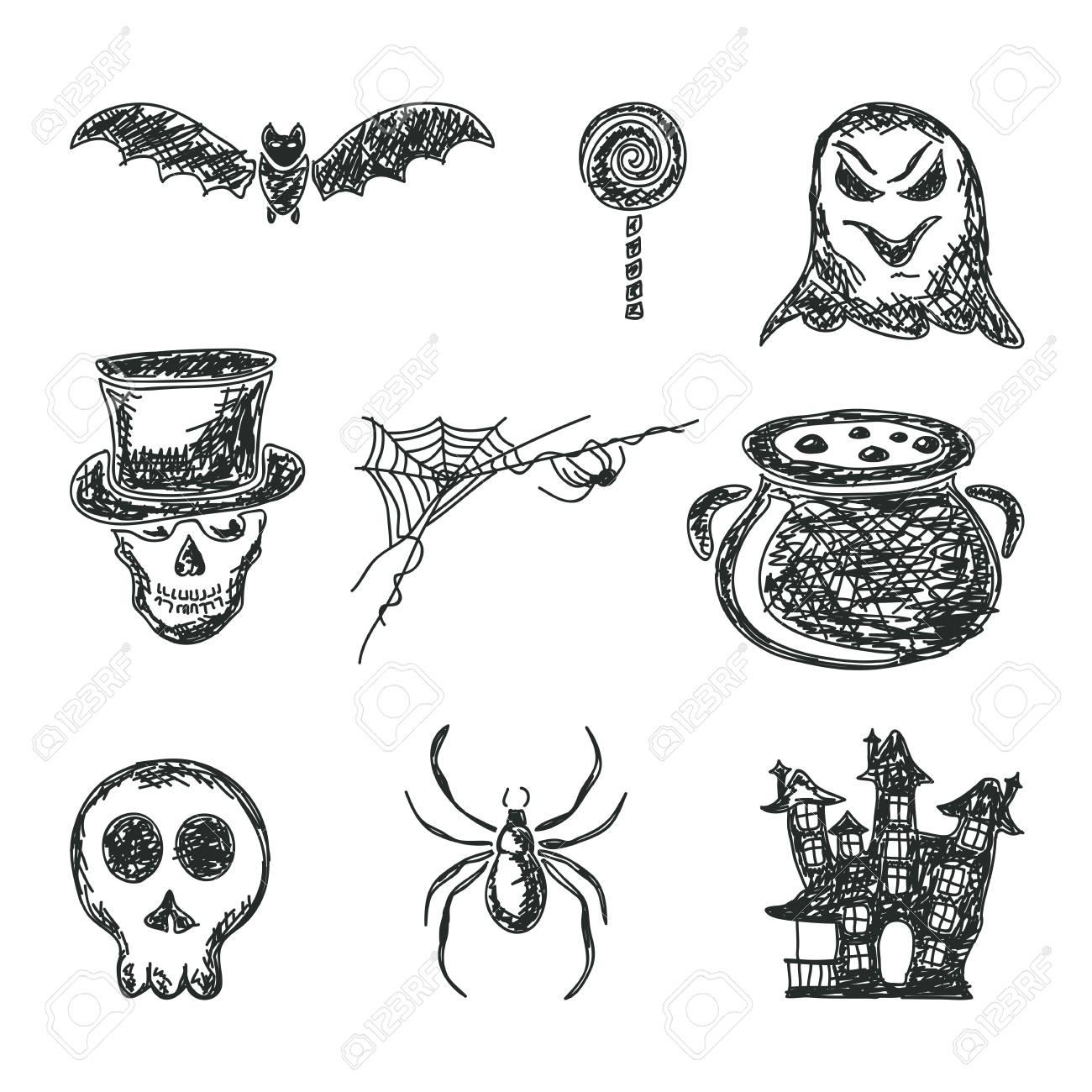 Halloween Thema.Halloween Thema Set Van Schetsen Pictogrammen Geisoleerd Op Een Witte Achtergrond Illustratie