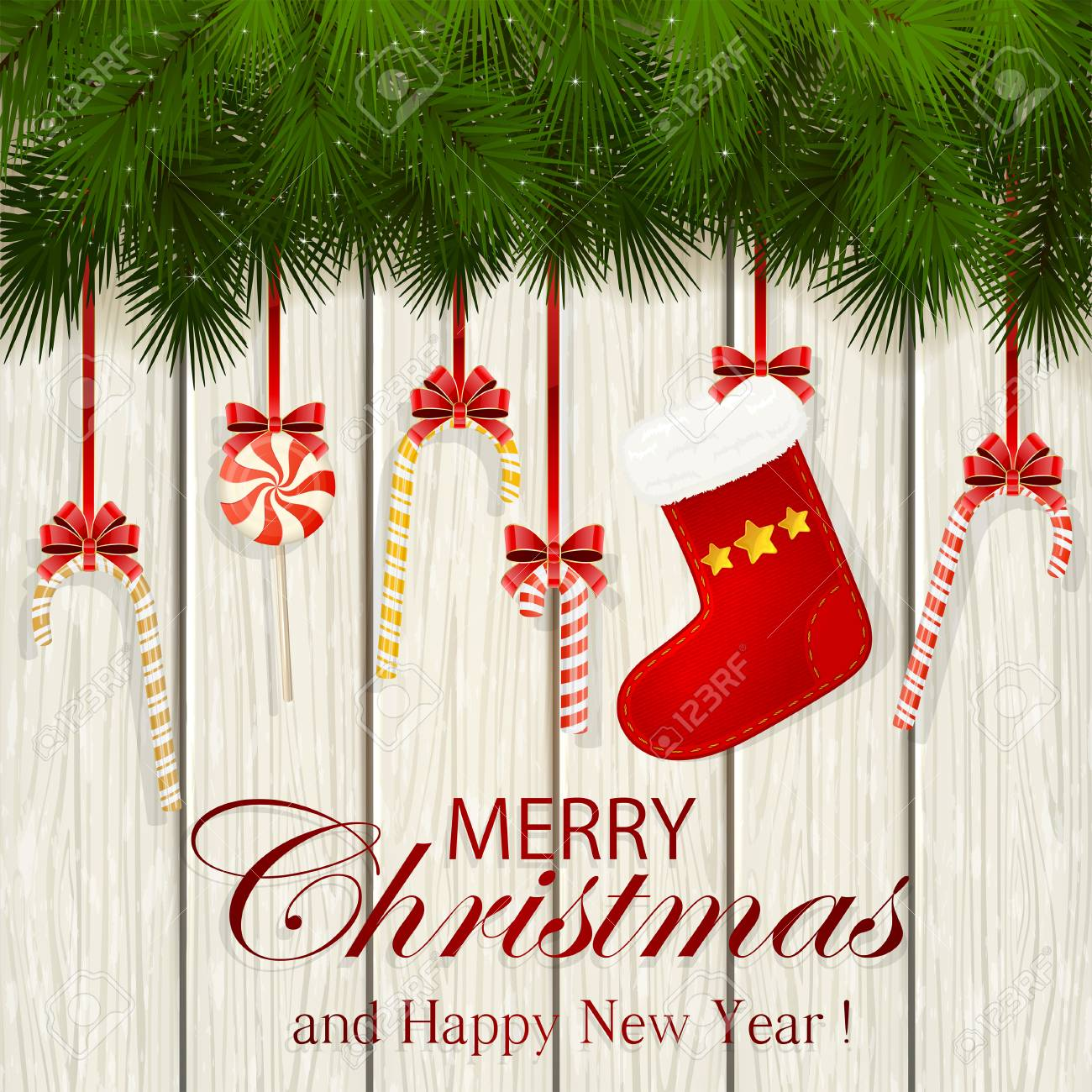 2e24c0f3fd59 Inscription Merry Christmas and Happy New Year with decorative spruce  branches, red Christmas sock and