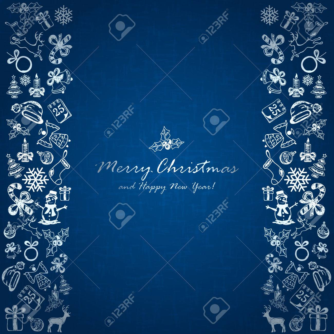 Silver Christmas Elements On Blue Background Holiday Decorations Royalty Free Cliparts Vectors And Stock Illustration Image 63827432