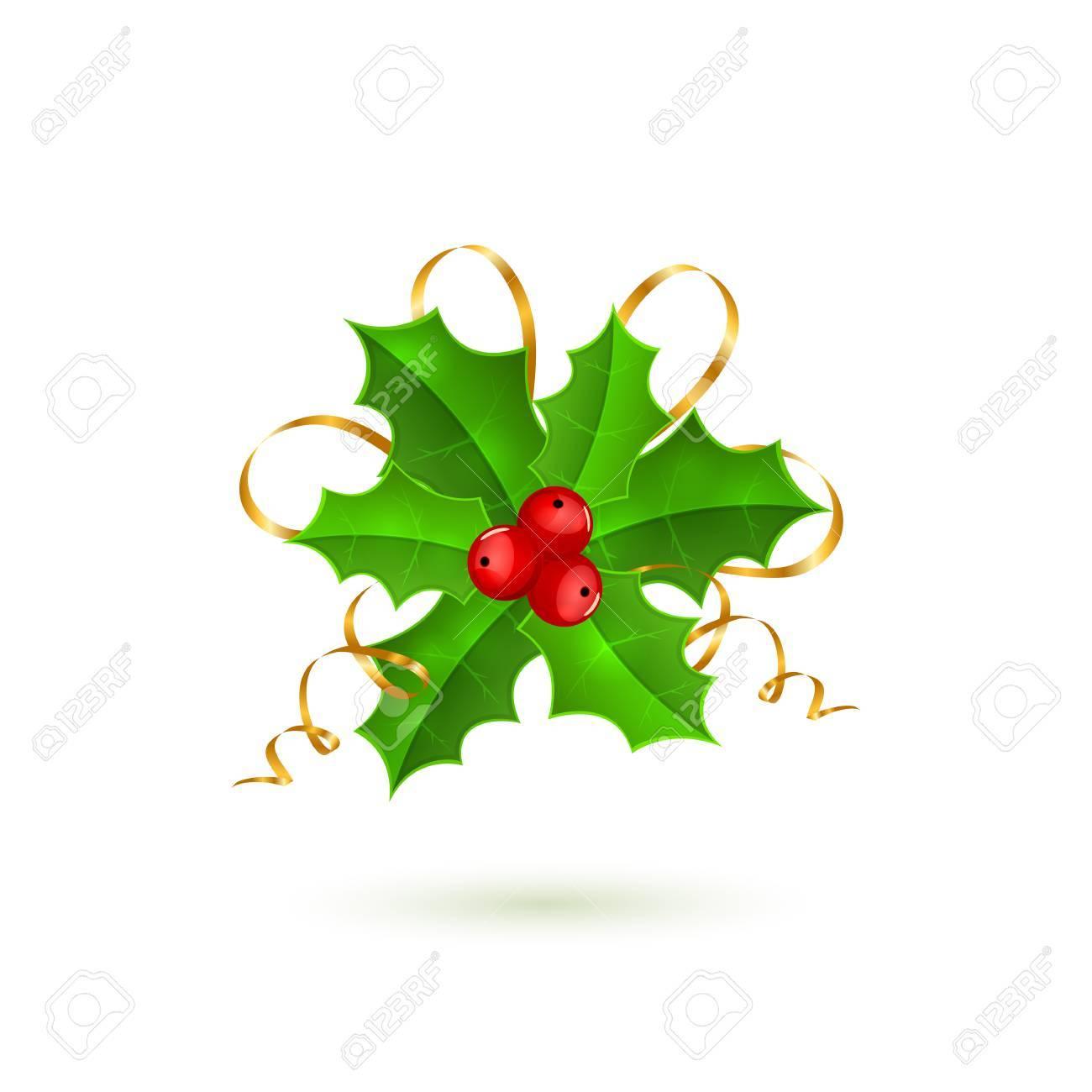 Immagini Agrifoglio Di Natale.Bacche Dell Agrifoglio Di Natale Con Lame Isolato Su Priorita Bassa Bianca Decorazione Di Festa Illustrazione