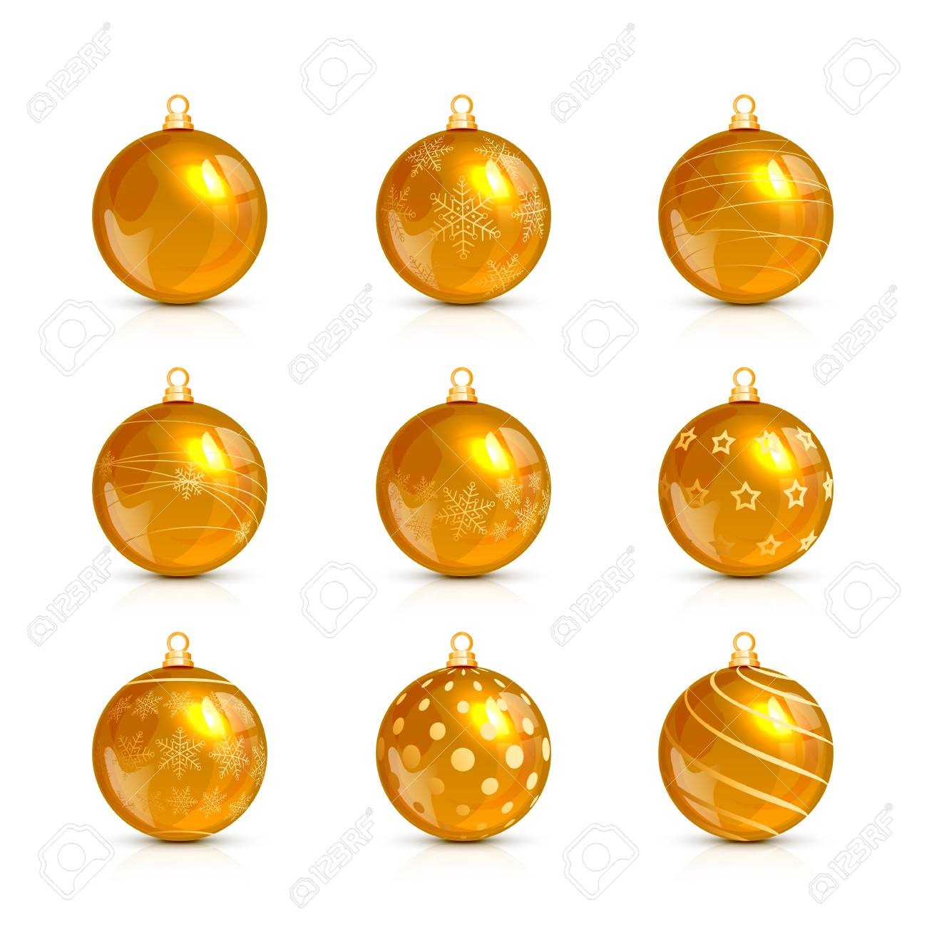 Set Of Decorative Golden Christmas Balls With Holiday Pattern ...