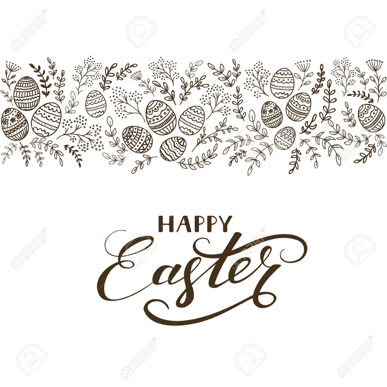 Black floral elements with eggs and lettering Happy Easter on white background, illustration. - 74733383
