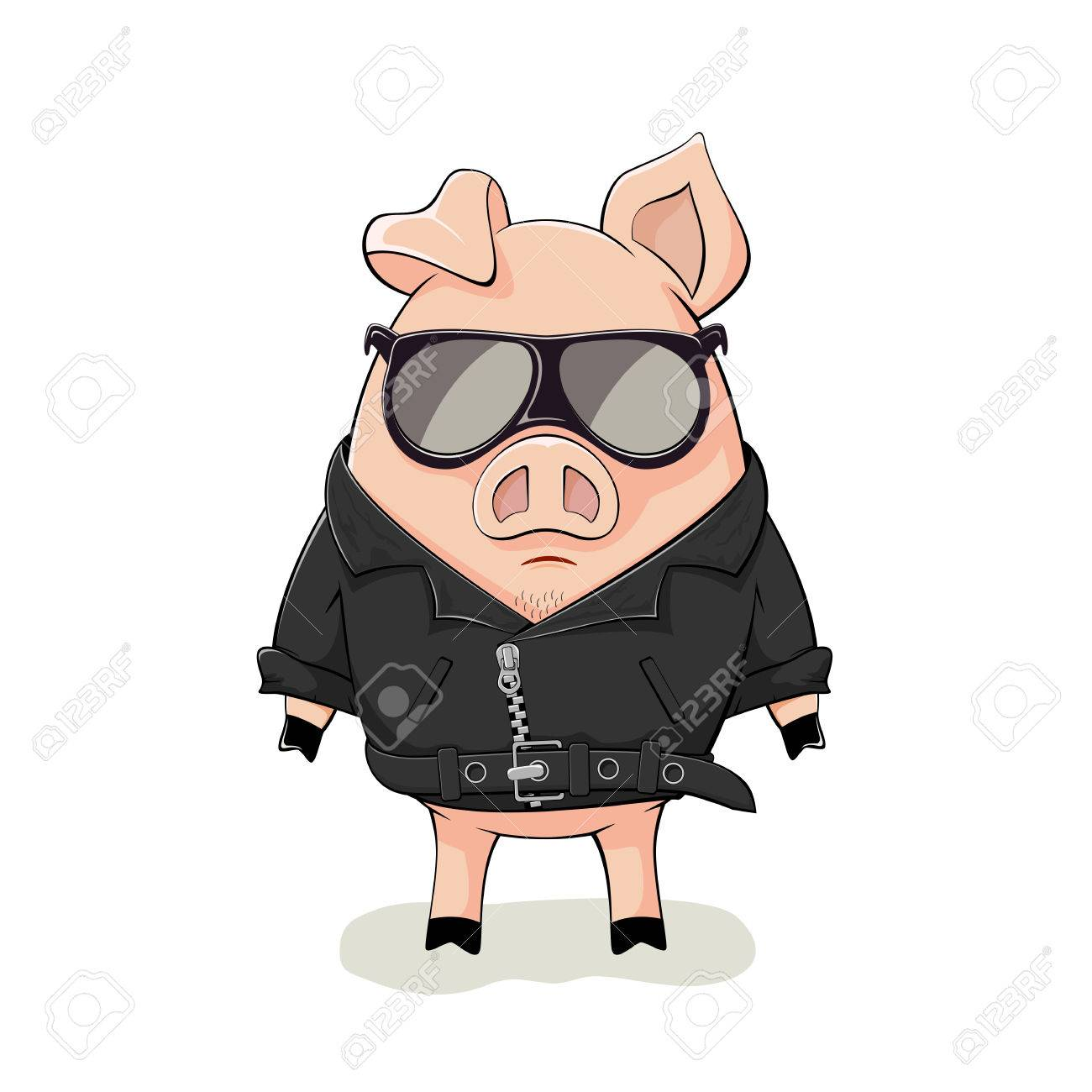 Pink pig with black sunglasses and leather jacket isolated on white background, illustration. - 75868468