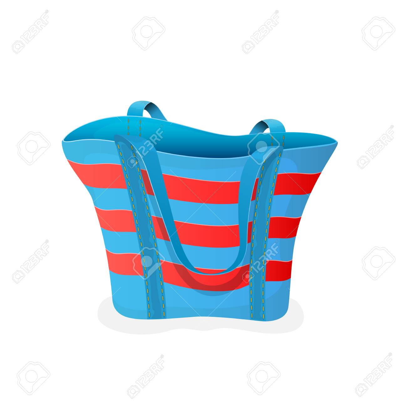 64e8f220e Striped blue-and-red bag, empty beach bag isolated on white background,